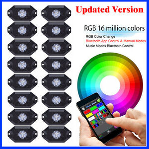 16pcs Led Rgb Rock Lights Wireless Bluetooth Strobe Controlled For Jeep Trucks