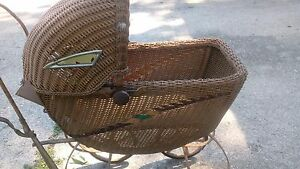 Antique Vintage Wicker Baby Carriage Buggy Pram Convertible 34 5 X 32 X 16