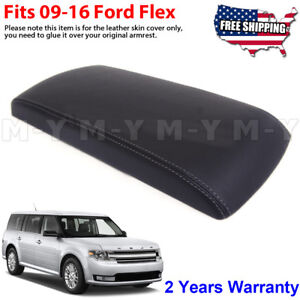 Fits 2009 2016 Ford Flex Black Leather Console Lid Armrest Cover Gray Stitch