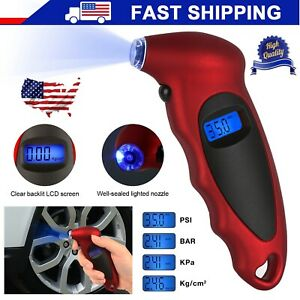 Digital Tire Pressure Gauge Meter Tester Back Light 100 Psi Car Bike Motorcycle