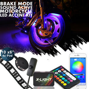 14pcs Motorcycle Strip Led Light Neon Under Glow Remote Music Bluetooth Control