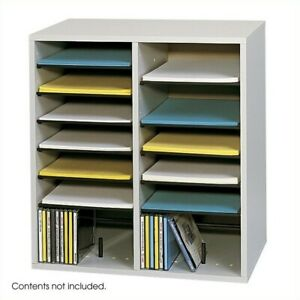 Safco Grey 16 Compartment Wood Adjustable File Organizer