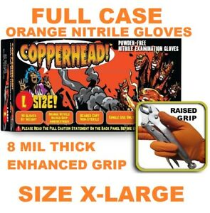 Copperhead Orange Nitrile Gloves 8 Mil Powder Free Full Case Size Xl X large