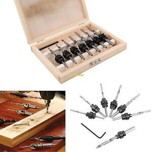 22pcs Tapered Drill Countersink Bit Screw Set Wood Pilot Hole For Woodworking