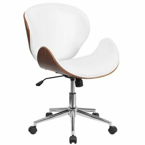 Flash Furniture Leather Swivel Office Chair In White And Walnut