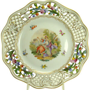 Dresden Porcelain Enameled And Reticulated Hand Painted Plate 1870 S