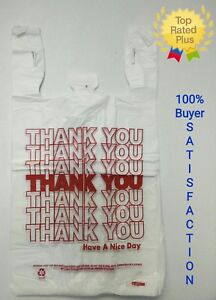 Thank You T shirt Bags 11 5 X 6 X 21 White Plastic Shopping Bags 50 1000