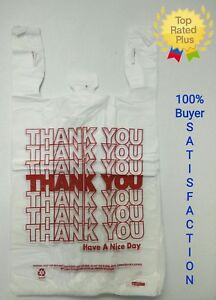 Thank You T shirt Bags 11 5 X 6 X 21 White Plastic Shopping Bag 50 1000