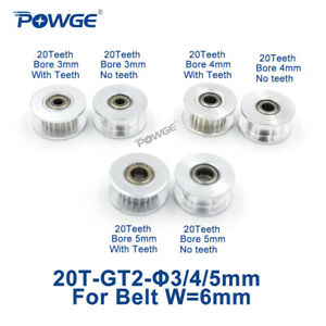20 Teeth Gt2 Idler Pulley Bore 3 4 5mm For Width 6mm 2gt Open Timing Belt 20t