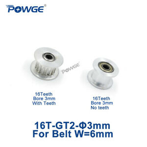 16 Teeth 2gt Synchronous Idler Pulley Bore 3mm For Width 6mm Gt2 Open Belt 16t