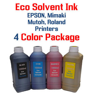 Eco Solvent Ink 4 Multi color 1000ml Each Epson Roland Mimaki Mutoh Printers