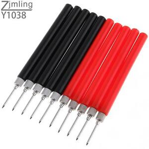 10x Spring Test Probe Tip Insulated Hook Wire Connector Lead Pin For Multimeter