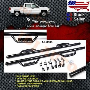 Side Step Nerf Bars Run Board For 07 18 Chevy Silverado Gmc Sierra Crew Cab Blk