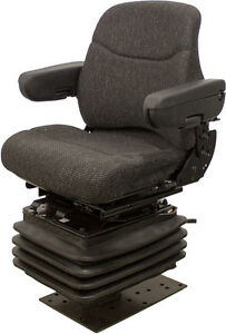 Black Fabric Seat W 12 V Air Suspenson For Backhoes Other Construction Equip