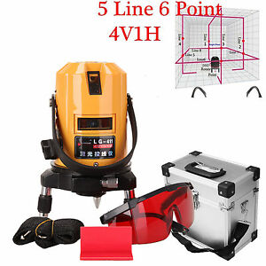 360 Degree Self Leveling 5 Line 6 Point Automatic Rotary Laser Level W case