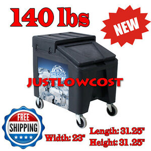 Durable Commercial Mobile Ice Bin Cart Caddy Var Colors 140 Lb Capacity Portable