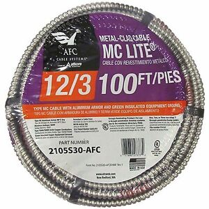 Afc Cable Systems 100 feet 12 gauge Armored 600v Power Conductor Electrical Wire