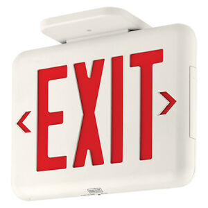 Dual Lite Eveurwe Led Emergency Exit Sign Sgl dbl Face Red Let White Housing