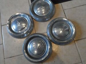Chevy Bowtie Set Of 4 Dog Dish Hub Caps Center Hot Rod Patina 10 5 Rat Rod