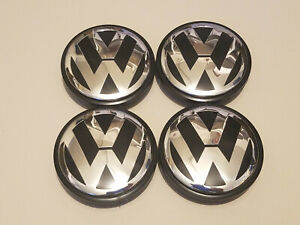 4x Vw Volkswagen Logo Chrome Black Wheel Rim Center Hub Caps New 65 3b7601171xrw