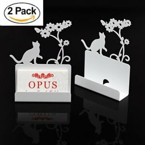 2 X Metal Business Card Holder Stand Desk Display Cat Shape white Gifts Decors