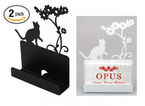 2 Pack Metal Business Card Holder Stand Desk Display Cat Shape black White