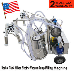 Ce Electric Vacuum Pump Milking Machine For Farm Cows Double Tank Easy Move