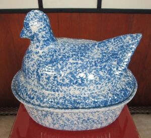Vintage Spongeware Ceramic Chicken Soup Tureen Hen Blue White Country Kitchen