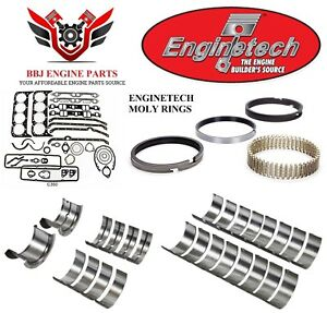 Enginetech Chevy Sbc 327 350 5 7 Re Ring Rebuild Kit With Moly Rings 68 85