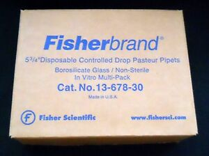 Box Of 240 Fisherbrand 5 3 4 Glass Controlled Drop Disposable Pasteur Pipets