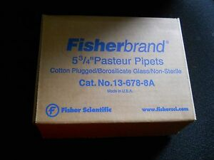 Box Of 225 Fisherbrand 5 3 4 Cotton Plugged Glass Pasteur Pipets 12 678 8a