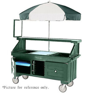 Cambro Cvc72192 Granite Green Camcruiser Vending Cart And Kiosk With Umbrella