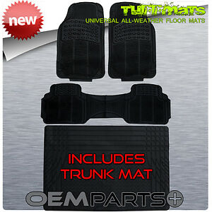 New 4pc Car Floor Mats With Trunk Liner Universal Rubber Front And Rear Black