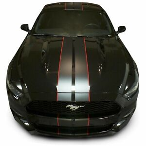 Matte Black Premium Pre Cut Mustang Dual Racing Stripes 14 Pc Kit For 2015 2017