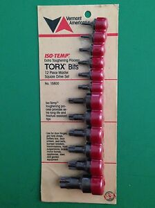 New Vermont American 15800 12 Piece Torx Bit Set Made In Usa