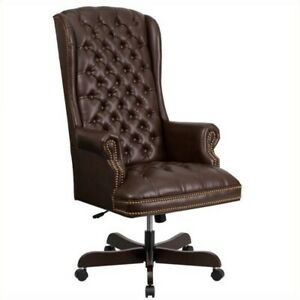 Flash Furniture Traditional Upholstered Executive Office Chair In Brown