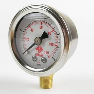 Efi Fuel Pressure Gauge 1 8 Bar 0 120psi 1 8 Nptf Fuel Injection Fluid Filled