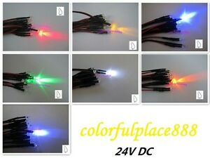 3mm 24v Candle Flicker Pre wired Red Yellow Blue Green White Orange Uv Led 20cm