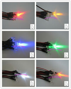 5mm 24v Candle Led Flicker Pre wired Red Yellow Blue Green White Orange 20cm New