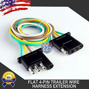 5pc 25ft Trailer Light Wiring Harness Extension 4 Pin 18 Awg Flat Wire Connector