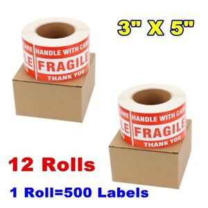 6000pcs 3x5 Fragile Stickers Handle With Care Shipping Thank You Labels 12 Rolls
