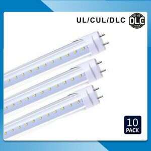 10x 20w 4 Ft Led T8 Light Tube Fluorescent Replacement Lamp Cool White Clear Ek