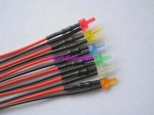 2mm Flat Top Diffused 12v Pre wired Led Red Yellow Blue Green White Orange 20cm