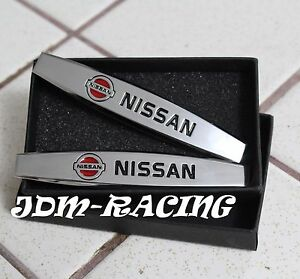 2pcs Nissan Chrome Auto Car Body Fender Metal Emblem Badge Sticker Decal