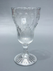 Antique Clear Pressed Glass Edwardian Vase 1900 1910 S