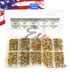 10 Types X 50 1nf 68nf 102 683 Monolithic Ceramic Capacitor Assorted Kit Box
