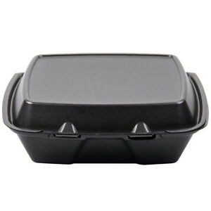 Dart 90htb1r 9 X 9 X 3 Black Foam Hinged Single Compartment Container 200 pk