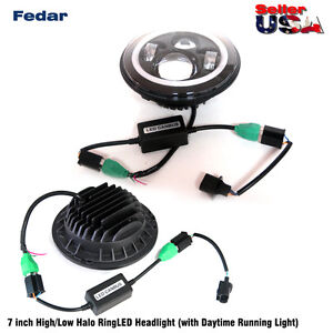 7 Inch High Low Beam Halo Ring Led Headlight Driving Lights Pair For Jeep Cj 5