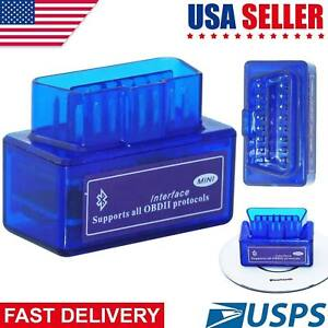 Lot Mini Bluetooth Obd2 Android Torque Obdii Elm327 V2 1 Adapter Auto Scanner Jj
