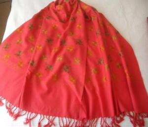 Vintage Coral Pink Kashmir Cashmere Wool Shawl Bronze Copper Stars Embroidery